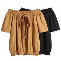 Blouses Femmes Chemises 2021 Arrivée Aslea Rovie Court Jeune Style Lolita Broadcloth Sashes Col Slash Solide Col de la Chine (continentale) AG