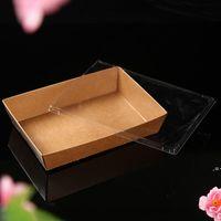 Tek Kullanımlık Kraft Kağıt Yemeği Yiyecek Kutuları Temizle Kapak Ile Hızlı Gıda Ambalaj Salatası Kızarmış Gıda Sarma Araçları HWA8033