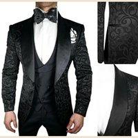 メンズスーツブレザーYiwumensa Black Jacquard男性フォーマルブレザーマスカリノカスタムメイドピークサテンラペルジャケット+ベスト+パンツ3個セットTUX