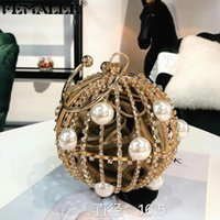 Evening Bags Ball Shaped Hollow Metal Alloy Party Bag Women Gold Cage Pearl Crystal Wedding Clutch Purses Gift Tote Handbags
