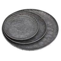 Küche lagerorganisation 3 stücke retro eisen teller handgefertigte runde vintage antike schmiede servieren handwerk spitze fach für wohnkultur