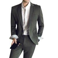 Herrenanzüge Blazer Mens Slim Fit Eine Taste Blazer Reine Farbe Britisch Gentleman 2 Stück Jacke Hosen Sets Party Festival Social Business Anzug T7I5