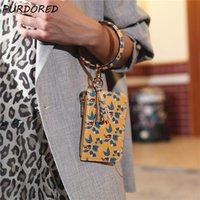 Card Holders PURDORED 1 Pc Women Leaf Pattern Wrist Case Pu Leather Leopard Bracelet Bank Coin Purse Key Chain Ring