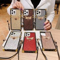 Luxury Glitter Square Phone Cover Bee Cases For Samsung iPhone 12 11 Pro X XR XS Max 8 Plus Bling Diamond Rhinestone Case