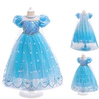 Creative New Kids Dress Blue Halloween Clothes For Girls Costume Flower Girls Princess Wedding Party Dress Cosplay Streetwear H0910