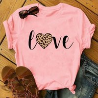 Leopard Love Print Women T Shirt Short Sleeve O Neck Loose Tshirt Ladies Fashion Tee Tops Clothes Camisetas Mujer Women's T-Shirt