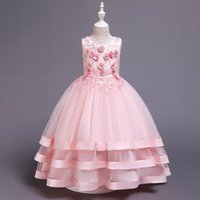Girl's Dresses Pink Puffy Tulle Ball Gown Flower Girl Appliques Princess Dress Beading Wedding Party First Communion