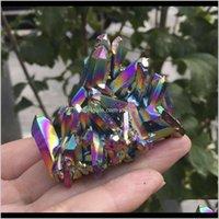 Arti e arti, Artigianato regali Giardino domestico Drop Consegna 2021 Natural Quartz Crystal Rainbow Rainbow Titanium Cluster raro Specimen minerale REIKI Guarisci