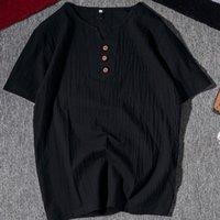 Yaz Moda Spor T Gömlek Yüksek Kaliteli Keten Gevşek Üst Kısa Kollu Rahat V Yaka erkek Boyutu: M-5XL