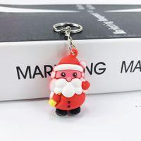 파티 호의 크리스마스 마스코트 산타 클로스 키 체인 눈사람 엘크 인형 크리스마스 트리 부드러운 접착제 키 반지 펜던트 FWE6462