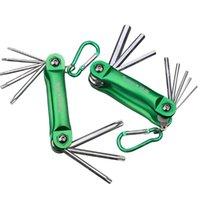 Handwerkzeuge Tuosen-Folding-Sechskantschlüssel / Box-Endschlüssel Metallmetrik 8-in-1-Set Set-Setagonal-Schraubendreher Schlüsselschlüssel-Werkzeug tragbar