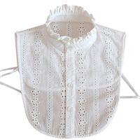 Women Lace Collar Pure Color Detachable Lapel Choker Necklace Shirt Fake False Blouse Sweatshirt Vest Accessories