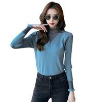 HKCP Fashion Femme Sweater Bureau Dame Casual Solide Half Turtleneck Dentelle Pulls à manches longues Hiver 2021 Nouveau