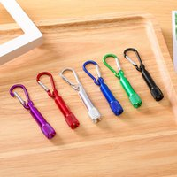 6 Colors Portable LED Flashlight Key Chain Aluminum Alloy Torch Flashlights With Carabiner Ring Keyrings Gifts