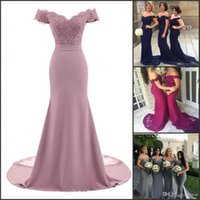 Dusty Rose Pink Bridesmaid Dresses Mermaid Floral Lace Applique Beaded V Neck Wedding Guest Evening Dress Off Shoulder Maid Of Honor Dress