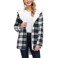 Dear Buyer, Womens Casual Loose Fashion Sherpa Fleece Lined Plaid Shirt Jackets Coats Girl Chic Check Sweatshirt Hoodie Jacket Women's Hoodi