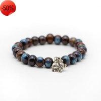 Natural Blue Stone Bracelet Beads Buddha Charm Meditation Yoga Mala s Strand Men Crown
