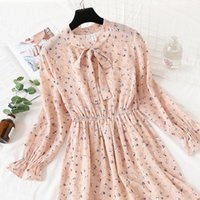 Casual Dresses Plus Size Women's Clothing Long Sleeve Chiffon Shirt Women Red Bow Floral Club Party Spring Autumn Woman Summer Vestidos