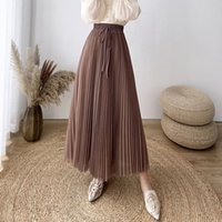 Skirts PEONFLY 2021 Spring Summer Tulle Pleated Maxi Skirt Women Korean Fashion Bow Belt Mesh A Line High Waist Long Female Lady