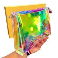 المصممين المصممين أكياس التجميل عالية الجودة ماكياج حقيبة يد الليزر محافظ شفافة محفظة للنساء حجم 26.5 * 20 سنتيمتر bag80609