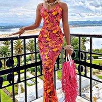Casual Dresses Women Summer Sling Elegant Party Evening Sleeveless Printed V Neck Skinny Slim Package Hip Pencil Dress Sundress Clothes 2021
