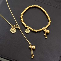 Earrings & Necklace 316L Stainless Steel Gourd Round Pendant Charm Chain Choker Elastic Cord Bead Bracelet For Women Fashion Jewelry Set