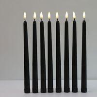 Parça Siyah Alevsiz Flickering Işık Pil Kumandalı LED Noel Adil Mumlar, Düğün Mumlar için 28 cm Uzun Sahte Şamdanlar