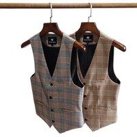 Men's Suits & Blazers Suit Vest Korean Version British Retro Style Youth Slim Plaid Waistcoat Business Casual Dress Fashion Clothe