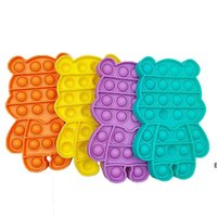 Color de caramelo lindo oso push pop It Fidget Toys Bubble Poppers Board Fing Fun Desktop Game DecomPression Poo-su juguete sensorial DHWWWD6516