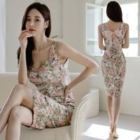 Floral Summer Dress for Women Sleeveless Bow Printed Pencil Dress Fashion Sexy Bodycon Dress Temperament Business Party Dresses