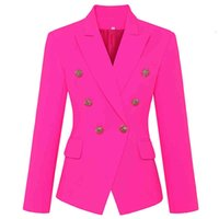 Women's Wool & Blends Classic women's blazer jacket with metal buttons, high street , design style, two breasted, slim fit pink LMSP