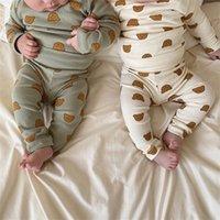 Bebê recém-nascido meninos de manga comprida bodysuit primavera outono cartoon urso imprimir roupas toddler roupas casuais conjunto bebê 2pc roupas 2344 v2