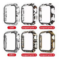 Fashion Pattern PC Hard Screen Protector Case for Apple Watch Cover Series 6 SE 5 4 3 With Glass Film 40mm 44mm 38mm 42mm Bumper Retailer Box Packing