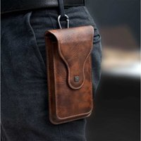 Storage Bags Vintage Mobile Phone Case Cover Pack Men PU Leather Waist Bag With Hook Clip Holster Travel Hiking Cell Belt Pouch Purse