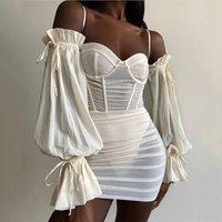 Off Shoulder See Through Sexy Summer Dress Women Puff Sleeve Bodycon Mini Dresses Female Black Mesh Straps Party Vestidos