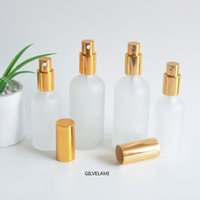 Frosted Glass Spray Pump Bottles with Gold Spraying Tops Empty Cosmetic Perfume Packaging 15ml 30ml 50ml 100ml