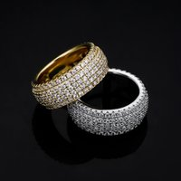 Hip Hop Rings 5 Rows CZ Stone Paved Bling Iced Out Round Finger Ring for Men Women Rapper Jewelry