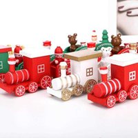 New Christmas Decorations Wooden Train Children's Holiday Gifts Green White Red Tabletop Art Decorations