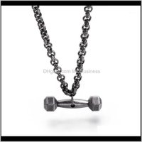 Necklaces & Pendants Jewelrypunk Dumbbell Pendant Necklace Men Sport Fitness Stainless Steel Vintage Black Matte Weightlifting 65Cm Chain Nec