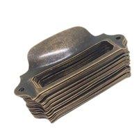 Çerçeveleri 20 adet Antika Kolları Kutusu Etiket Retro Çekme Çerçeve Kolu Adı Kart Tutucu Topuzu Kabine Çekmece Kapı Mobilya Donanım