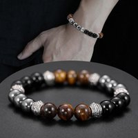 Beaded, Strands Black Frosted Magnetic Therapy Tiger Eye Obsidian Energy Bracelet For Men And Women Health Protection Balance Beads