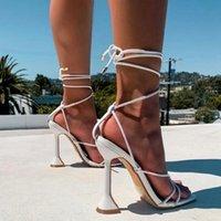 여성 샌들 여름 슬라이드 스퀘어 발가락 신발 이상한 스타일 숙 녀 발목 스트랩 넥타이 다리 여성 펌프 패션 여성 2021 신발