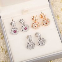 2022 Hot Brand New Pure 925 Sterling Silver Jewelry Rose Flower Earrings Luxury Design Wedding Top Quality Party Fine Jewelry