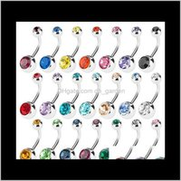 Bell Jewelry Drop Consegna 2021 Acciaio inossidabile Bottone Belly Bottone NELL Rings Crystal Strass Piercing Bar Donne Bikini Body Fashion Body 2TSWR
