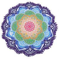 Toalla Poligonal Impresión Cuelga Bola Bola Bañera Redonda Mandala Yoga Mat Lotus Colorful Beach Manta Manta Mantante 150 * 150 cm