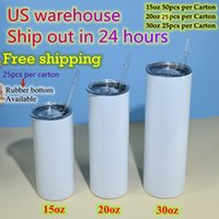 US warehouse 15oz 20oz 30oz Skinny straight Sublimation Tumblers Clear Straws Rubber bottoms Stainless Steel blank white Double wall Vacuum Insulated Travel cup