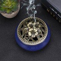 Duftlampen Kegel Weihrauchbrenner mit Legierung Calabash Stick Halter Keramische Aschefänger-Tablettschale (Saphirblau)