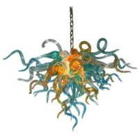 100% Mouth Blown Pendant Lamps 70 by 60 cm Nordic Multi Colored Hand Blown Glass Art Colorful Murano Chandelier for Ceiling Decor Customization