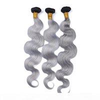 Black and Grey Ombre Brazilian Hair Hair Capelli Tessuti Bundles Dark Root 3pcs # 1B argento grigio Ombre Virgin Hair Weftts Onda del corpo Estensione dei capelli