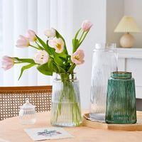 Современные стеклянные вазы столовый декор гостиной высокая ваза Vase Vase Vase прозрачный цветок украшения домашнего стекла декор подарки